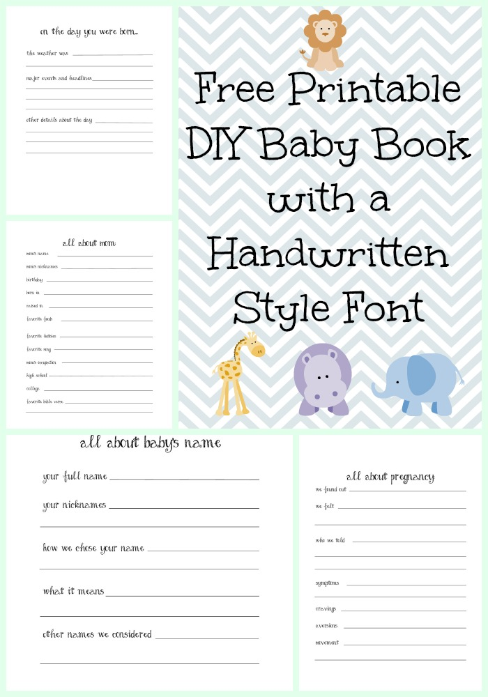 free printable DIY baby book with handwritten font