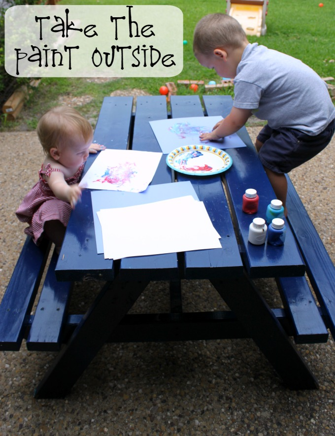 painting outside with toddlers