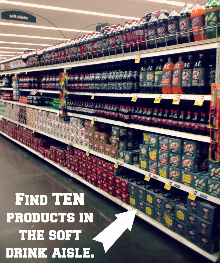 Find TEN products in the soft drink aisle. #DrinkTEN #shop #cbias
