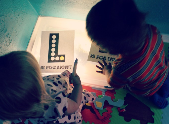 L is for Light DIY lightbox activities