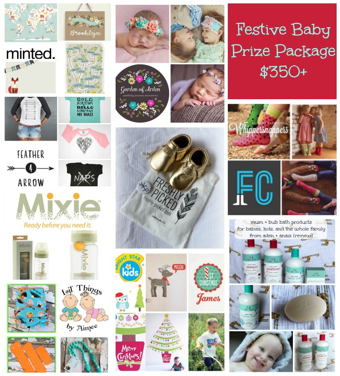 festive baby prize package collage