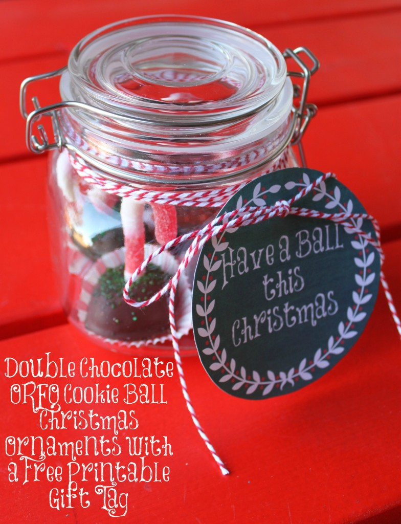 Double Chocolate OREO Cookie Ball Christmas Ornaments with a Free Printable Gift Tag #OREOCookieBall #ad