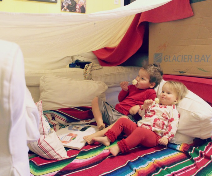 Building pillow forts and snacking on popcorn lollipops