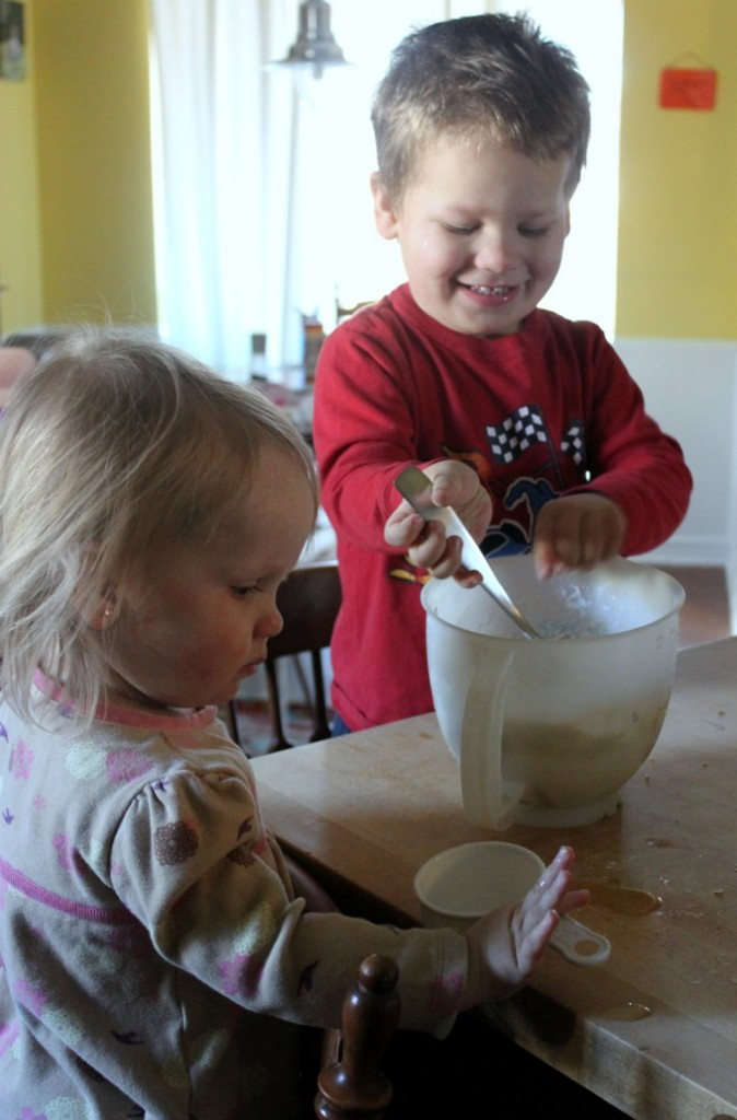 Making Snow Dough with Kids