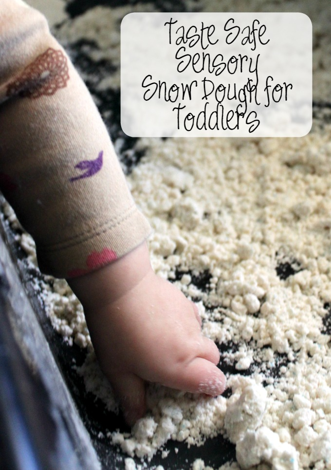 Playing with Taste Safe Sensory Snow Dough for Toddlers