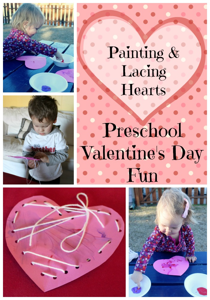 Preschool Valentine's Day Fun Painting and Lacing Hearts