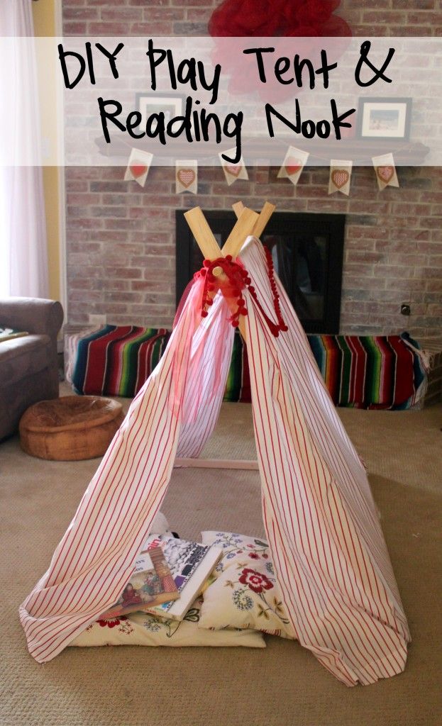DIY Play Tent and Reading Nook that is easy to store and set up.