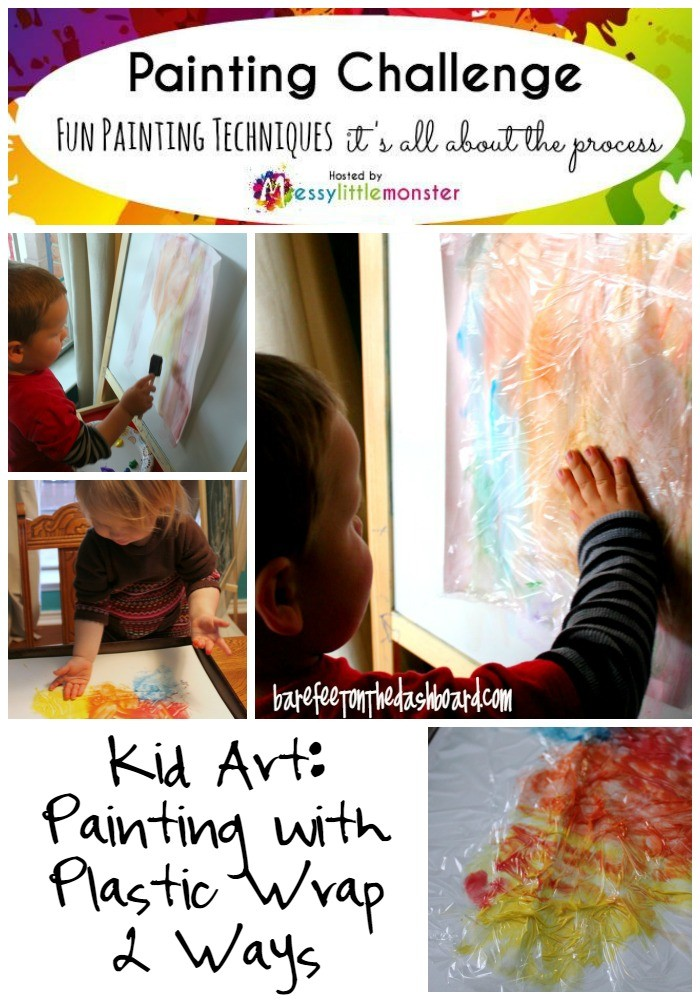 Kid Art Painting with Plastic Wrap Two Ways for Preschoolers and Toddlers