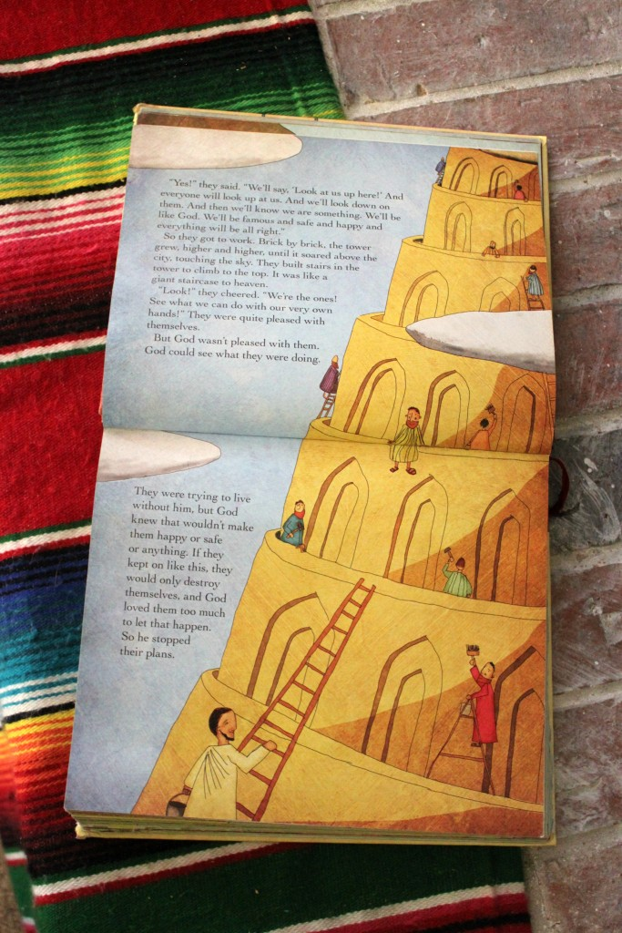 Reading about the Tower of Babel in the Jesus Storybook Bible