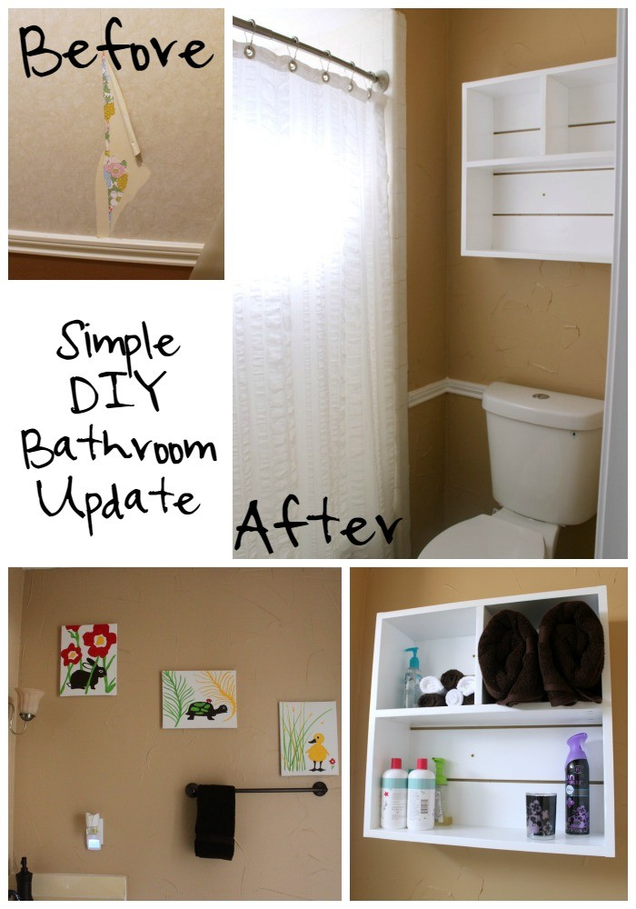 Simple DIY Bathroom Update  - removing wallpaper, texturing walls, painting, DIY Utility Box Shelf