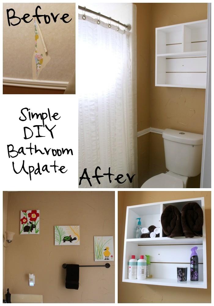 Simple DIY Bathroom Update  - removing wallpaper, texturing walls, painting, DIY Utility Box Shelf