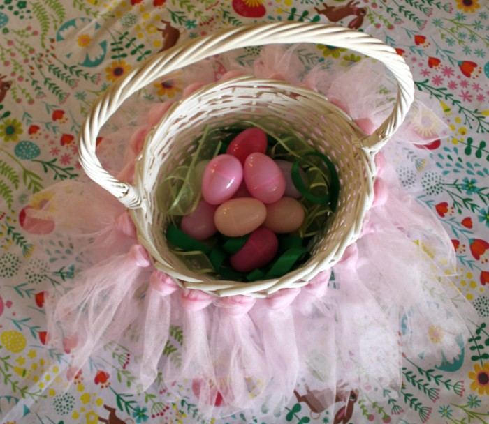 DIY Easter Basket with Ribbon for Grass