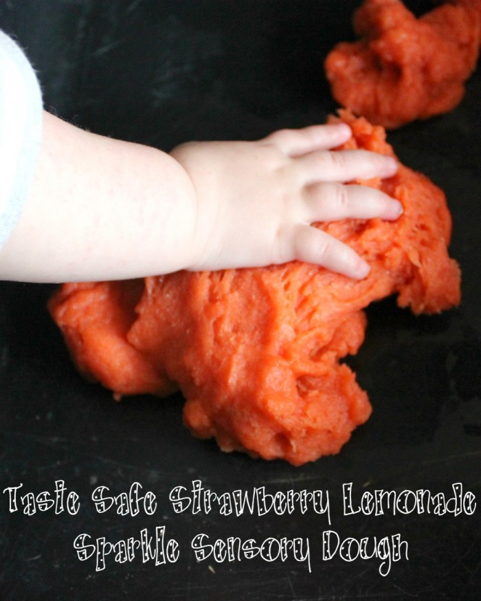 Make this fun and taste safe Strawberry Lemonade Sparkle Sensory Dough