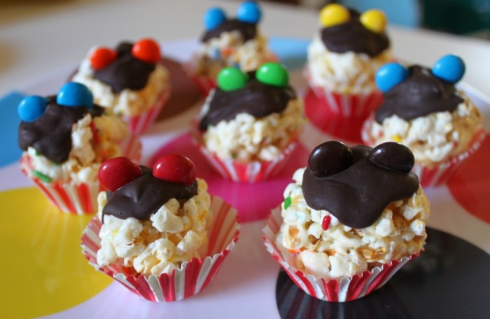 The cutest little Mickey Mouse Ear Popcorn Balls