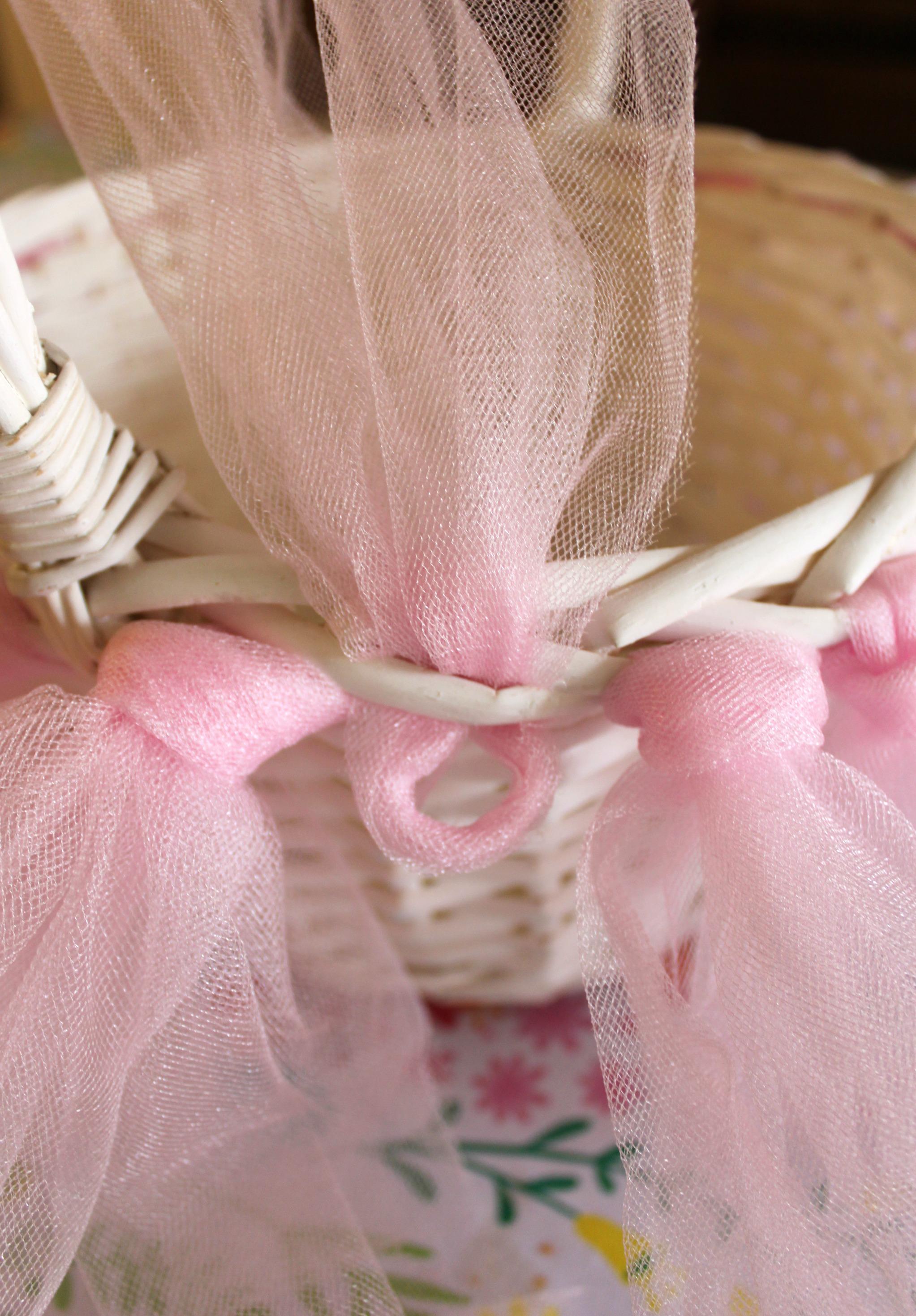 Pottery barn inspired tulle tutu easter basket diy tutorial tuck the loop through the weave in the basket negle Choice Image