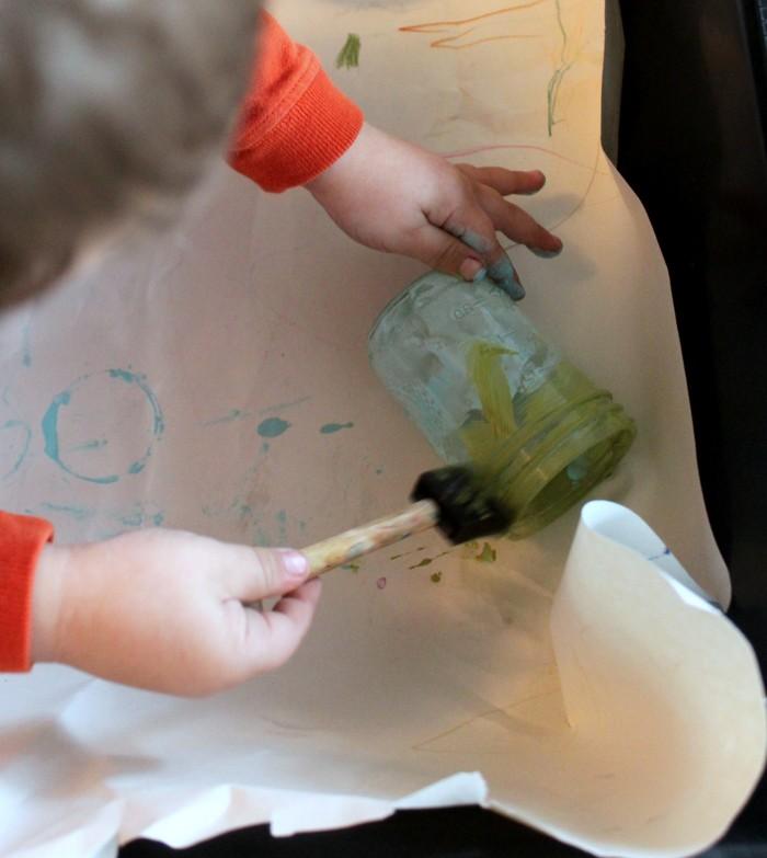 preschool painting mason jars to make diy diffusers