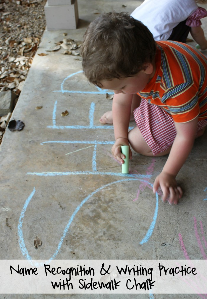 Name Recognition and Writing Practice with Sidewalk Chalk