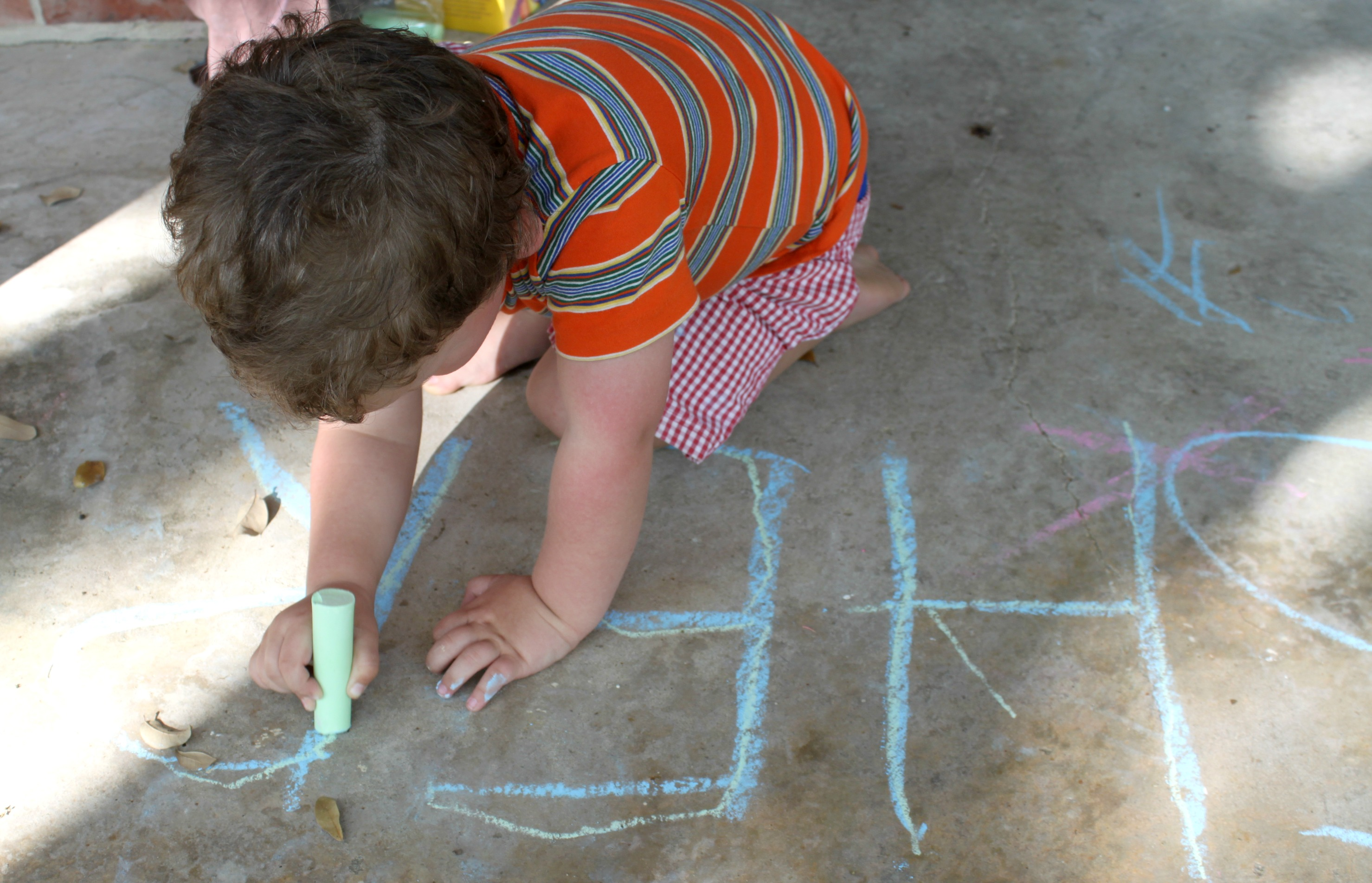 preschool name recognition and writing practice with sidewalk chalk