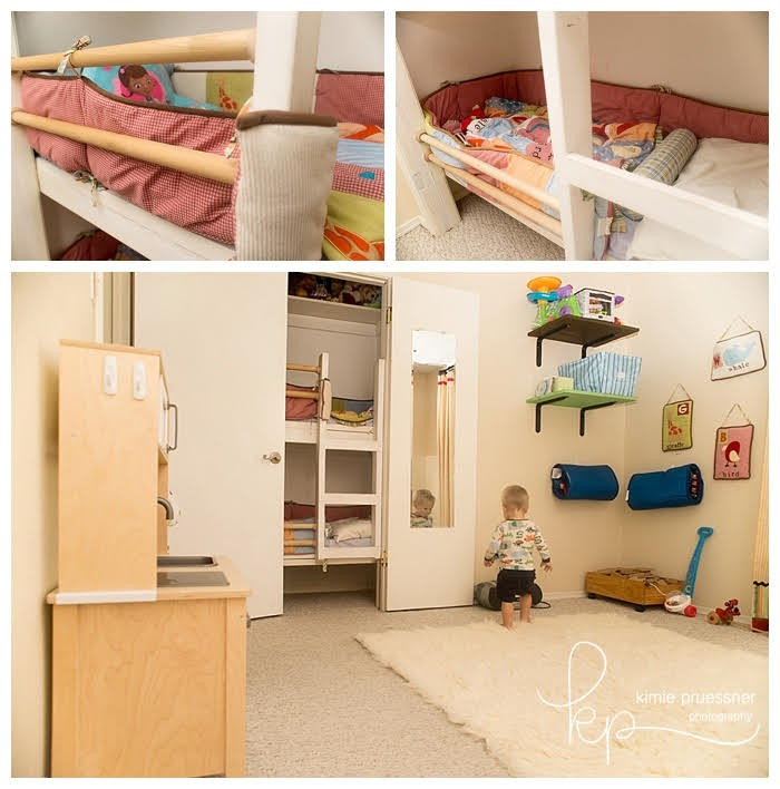 Check out this cool shared kids room and playroom with a bunk bed in the closet!