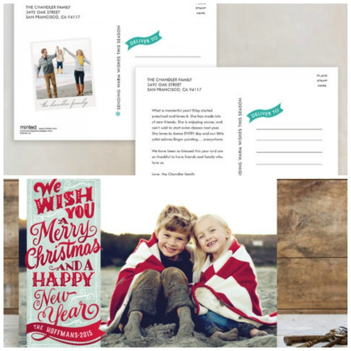 minted holiday postcards