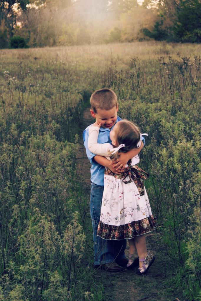 sweet kids hug